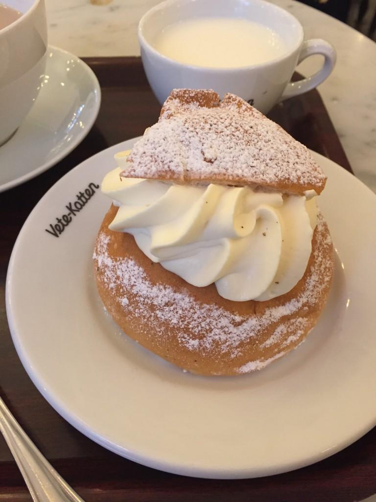 Semla bun and tea at Vete Katten, Stockholm