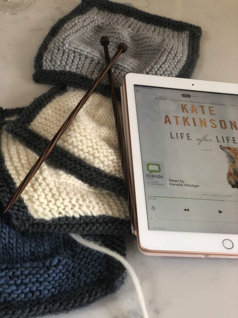 some knitted squares and Kate Atkinson